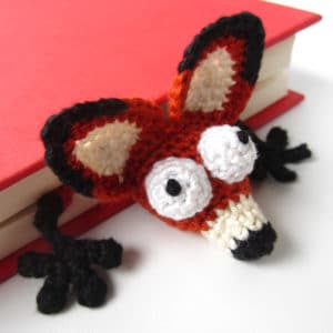 "Amigurumi Crochet Fox Bookmark – ""Book Fox"""